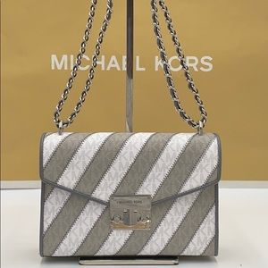 MICHAEL KORS ROSE MEDIUM FLAP SHOULDER PEARL GREY